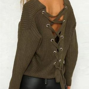 Kirsten laced back slouchy drop shoulder sweater